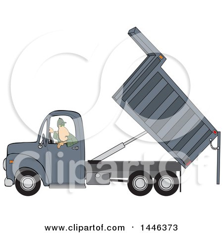 Clipart of a Cartoon Caucasian Man Backing up and Operating a Hydraulic Dump Truck - Royalty Free Vector Illustration by djart