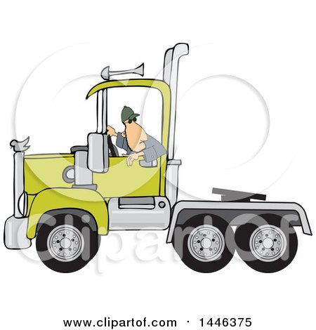 Clipart of a Cartoon White Male Truck Driver Backing up a Semi Tractor Cab Unit - Royalty Free Vector Illustration by djart