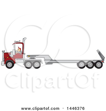 Clipart of a Cartoon White Male Truck Driver Operating a Semi Tractor and Flat Bed Trailor - Royalty Free Vector Illustration by djart