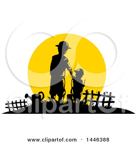 Clipart of a Silhouetted Father and Son Farmers Against a Sunset - Royalty Free Vector Illustration by BNP Design Studio