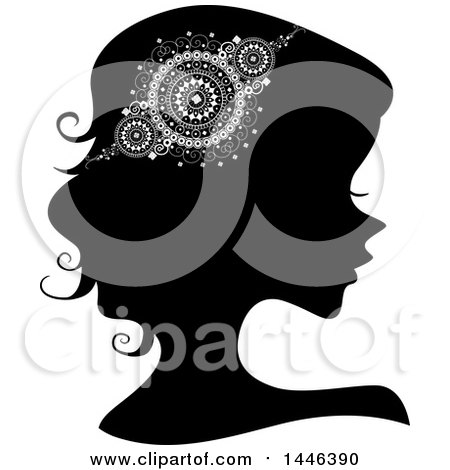 Clipart of a Black Silhouetted Profiled Woman Wearing a Doily Headdress - Royalty Free Vector Illustration by BNP Design Studio