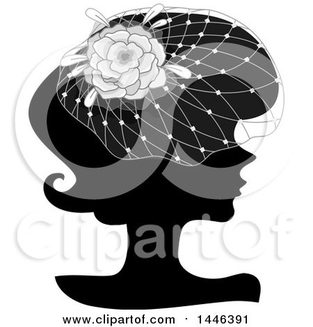 Clipart of a Black Silhouetted Profiled Woman Wearing a Floral Net Headdress - Royalty Free Vector Illustration by BNP Design Studio