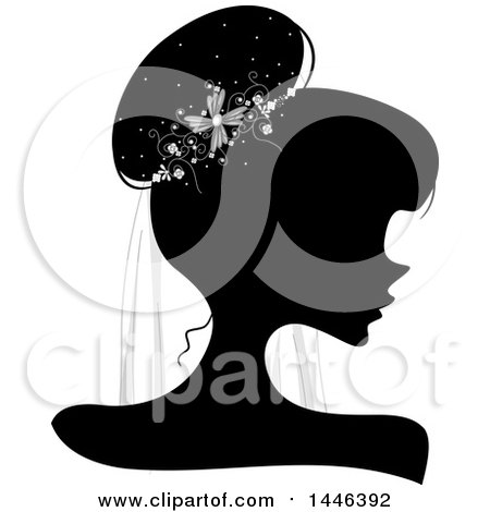 Clipart of a Black Silhouetted Profiled Woman Wearing a Bridal Veil - Royalty Free Vector Illustration by BNP Design Studio
