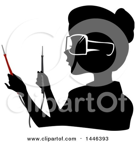 Clipart Of A Black Silhouetted Profiled Woman Wearing Goggles And Holding Current Testers Royalty Free Vector Illustration