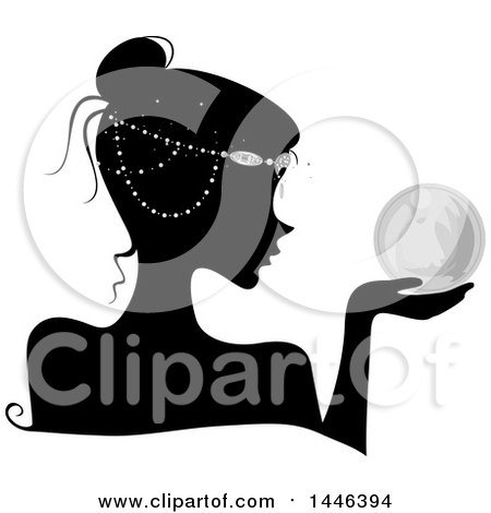 Clipart of a Black Silhouetted Profiled Woman Wearing Head Beads and Holding a Crystal Ball - Royalty Free Vector Illustration by BNP Design Studio