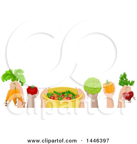 Clipart of a Group of Child Hands Holding up Fresh Produce - Royalty Free Vector Illustration by BNP Design Studio