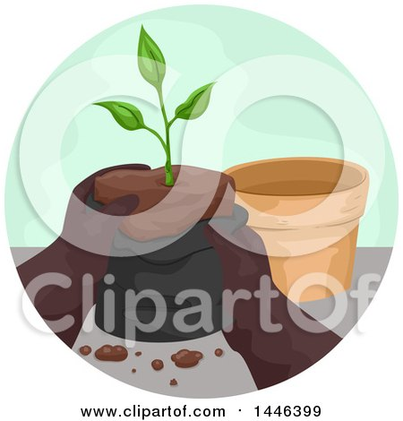 Clipart of a Pair of Gloved Gardener Hands Pulling a Seedling Plant from a Bag to Put in a Pot - Royalty Free Vector Illustration by BNP Design Studio