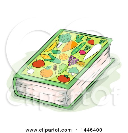 Clipart of a Sketched Book with Fruits and Veggies on the Cover - Royalty Free Vector Illustration by BNP Design Studio