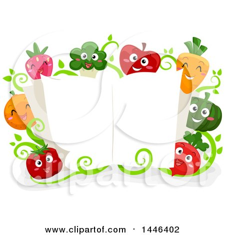 Group of Happy Vegetable and Fruit Mascots Around an Open Cook Book Posters, Art Prints
