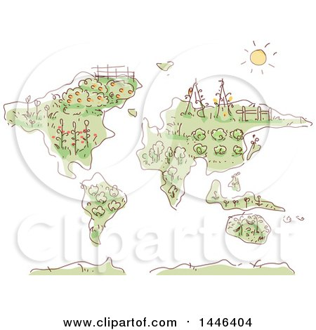 Clipart of a Sketched Map with Plants and Gardens - Royalty Free Vector Illustration by BNP Design Studio