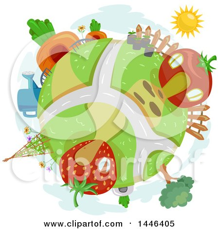 Clipart of a Globe with Fruit and Vegetable Houses - Royalty Free Vector Illustration by BNP Design Studio
