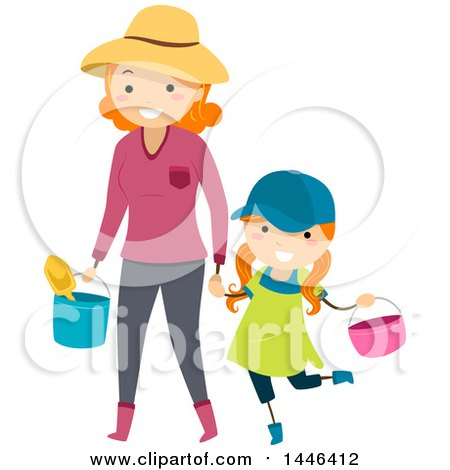 Clipart Of A Happy Red Haired White Mother Holding Hands And Carrying Gardening Tools With Her Daughter Royalty Free Vector Illustration