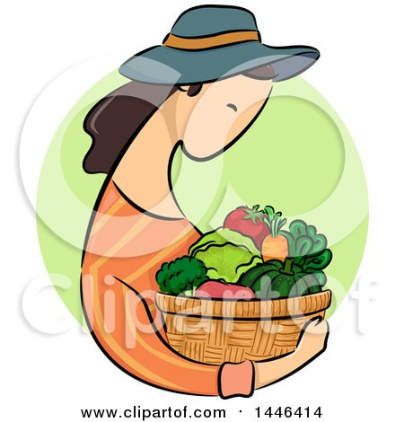 Clipart of a Sketched Profiled Brunette White Woman Holding a Basket of Produce over a Green Circle - Royalty Free Vector Illustration by BNP Design Studio