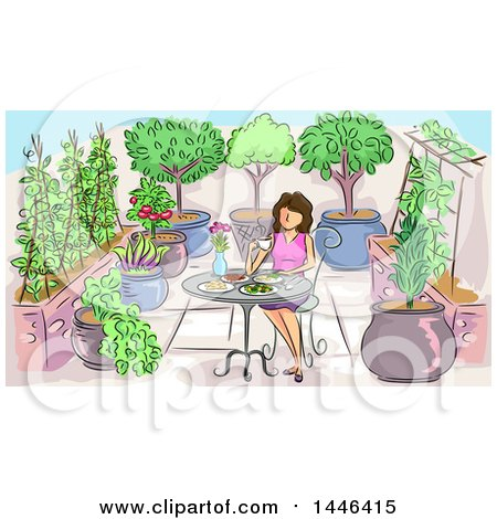 Clipart of a Sketched Brunette White Woman Eating a Meal in a Garden - Royalty Free Vector Illustration by BNP Design Studio