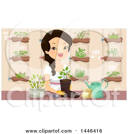 Clipart of a Happy Woman Planting a Seedling in a Boot in an Indoor Garden - Royalty Free Vector Illustration by BNP Design Studio