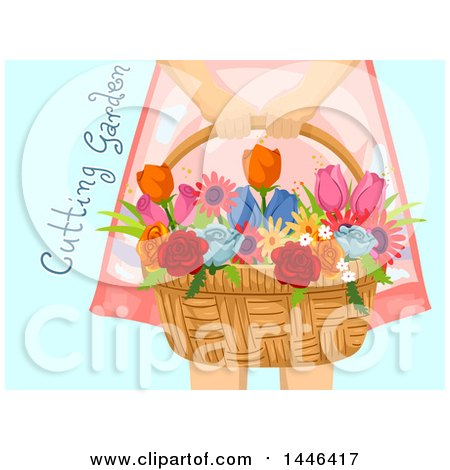 Clipart of a Cropped Woman Holding a Flower Basket, with Cutting Garden Text over Blue - Royalty Free Vector Illustration by BNP Design Studio