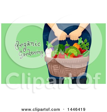 Clipart of a Cropped Woman Holding a Basket with Produce, with Organic Gardening Text over Green - Royalty Free Vector Illustration by BNP Design Studio