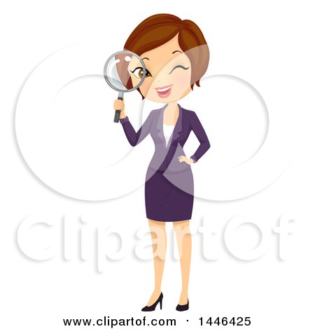 Clipart of a Short Haired Brunette White Business Woman Looking Through a Magnifying Glass - Royalty Free Vector Illustration by BNP Design Studio