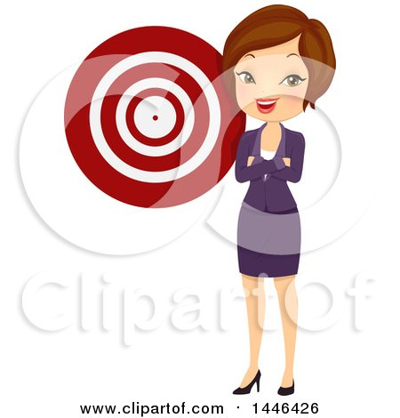 Clipart of a Short Haired Brunette White Business Woman by a Target - Royalty Free Vector Illustration by BNP Design Studio