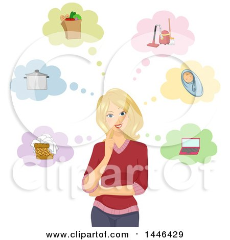 Clipart of a Happy Blond White Woman Thinking About Chores and Tasks - Royalty Free Vector Illustration by BNP Design Studio