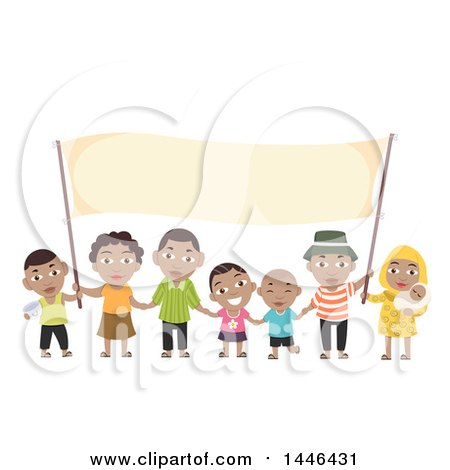 Clipart of a Happy Black Family Holding a Blank Banner - Royalty Free Vector Illustration by BNP Design Studio