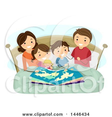 clipart of a happy brunette white family reading a bedtime