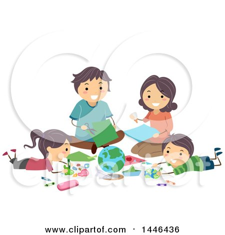Clipart of a Happy White Family Creating a Geography Project - Royalty Free Vector Illustration by BNP Design Studio