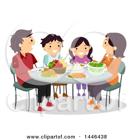 Happy Brunette White Family Eating Dinner Together By BNP Design Studio