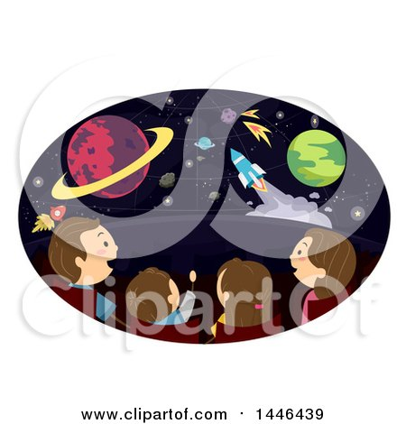 Clipart of a Rear View of a Happy Brunette White Family at a Planetarium - Royalty Free Vector Illustration by BNP Design Studio