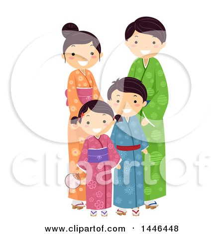 Clipart of a Happy Japanese Family in Traditional Clothing - Royalty Free Vector Illustration by BNP Design Studio