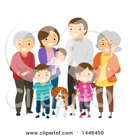 Clipart of a Happy White Family with Grandparents and a Dog - Royalty Free Vector Illustration by BNP Design Studio