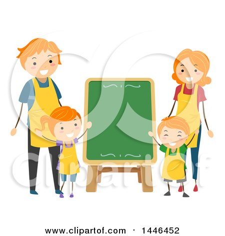 Clipart of a Happy Red Haired White Family Wearing Aprons Around a Menu Chalkboard - Royalty Free Vector Illustration by BNP Design Studio