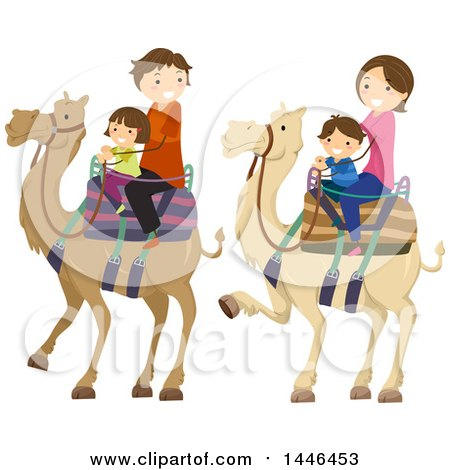 Clipart of a Happy Brunette White Family Riding Camels - Royalty Free Vector Illustration by BNP Design Studio
