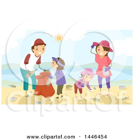 Clipart of a Happy Brunette White Family Picking up Litter on a Beach - Royalty Free Vector Illustration by BNP Design Studio