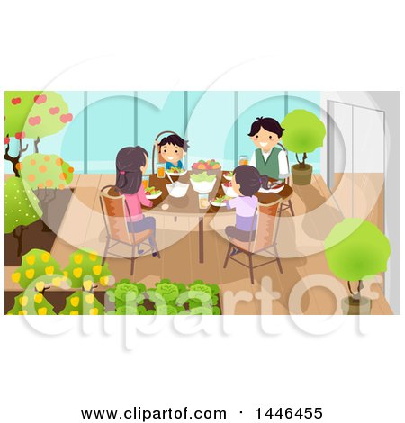Clipart of a Happy White Family Eating a Meal at an Indoor Garden - Royalty Free Vector Illustration by BNP Design Studio