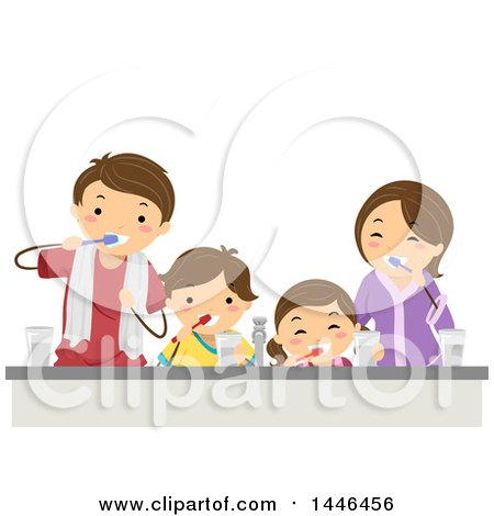 Clipart Of A Happy Brunette White Family Brushing Their Teeth Together Royalty Free Vector Illustration