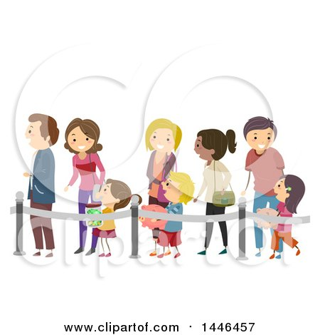 Clipart of a Line of Happy Parents and Children with Piggy Banks, Waiting to Make Deposits - Royalty Free Vector Illustration by BNP Design Studio
