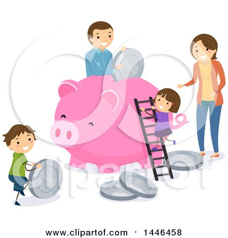Clipart of a Happy Brunette Family Depositing Giant Coins in a Piggy Bank - Royalty Free Vector Illustration by BNP Design Studio