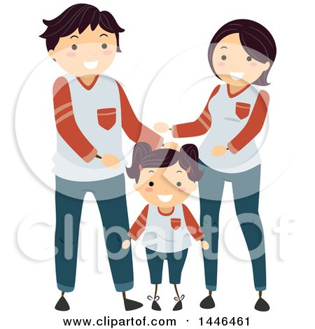 Clipart of a Happy Brunette White Family Wearing Matching Clothes - Royalty Free Vector Illustration by BNP Design Studio