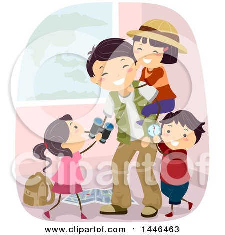 Clipart of a Happy Explorer Father Playing with His Kids - Royalty Free Vector Illustration by BNP Design Studio