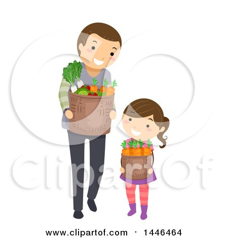 Clipart of a Happy Brunette White Father and Daughter Carrying Harvest Baskets or Groceries - Royalty Free Vector Illustration by BNP Design Studio