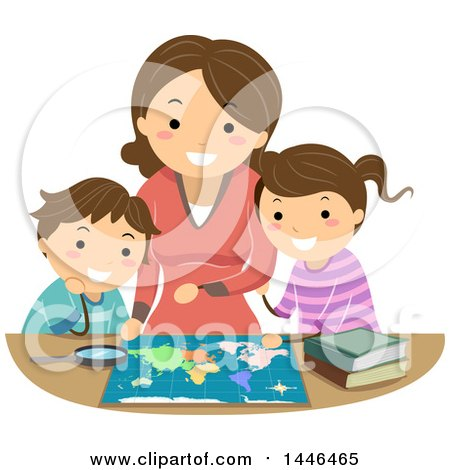Clipart of a Happy Brunette White Mother Reading a Map with Her Son and Daughter - Royalty Free Vector Illustration by BNP Design Studio