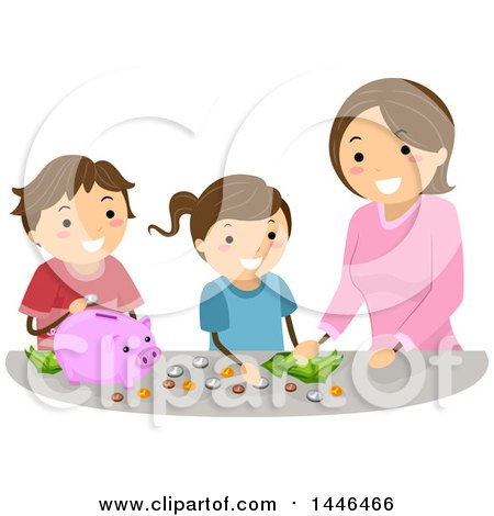 Clipart of a Happy Brunette White Mother Teaching Her Children to Save Money - Royalty Free Vector Illustration by BNP Design Studio