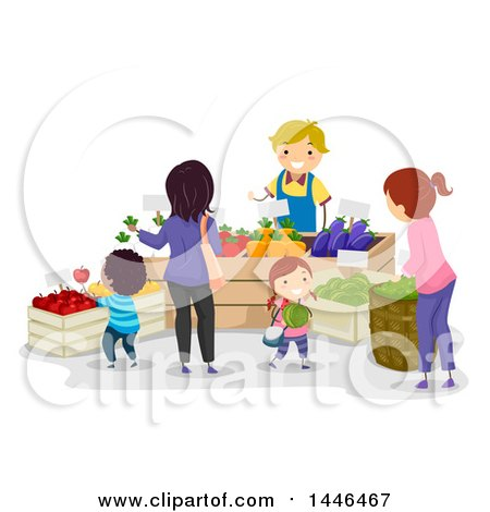Clipart of a Happy Male Farmer Talking to Customers and Selling Produce - Royalty Free Vector Illustration by BNP Design Studio
