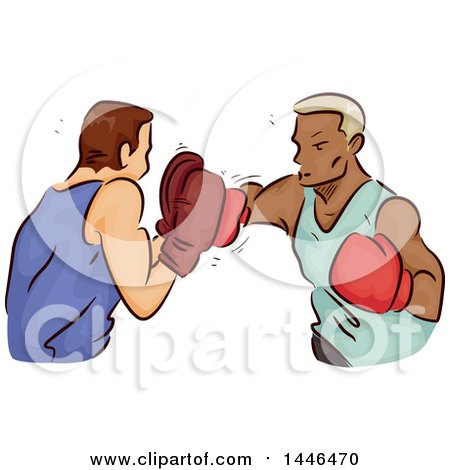 Clipart of a Sketched Boxer Throwing Punches at His Trainer