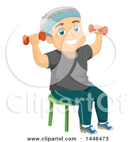 Clipart of a Happy White Senior Man Working out with Dumbbells - Royalty Free Vector Illustration by BNP Design Studio