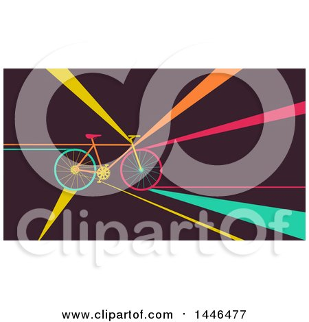 Clipart of a Retro Flat Styled Bicycle with Colorful Rays - Royalty Free Vector Illustration by BNP Design Studio