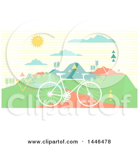Clipart of a Retro Silhouetted Bicycle on a Path near Mountains - Royalty Free Vector Illustration by BNP Design Studio