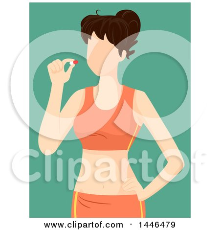 Clipart of a Faceless Brunette White Fit Woman Holding a Pill over Green - Royalty Free Vector Illustration by BNP Design Studio