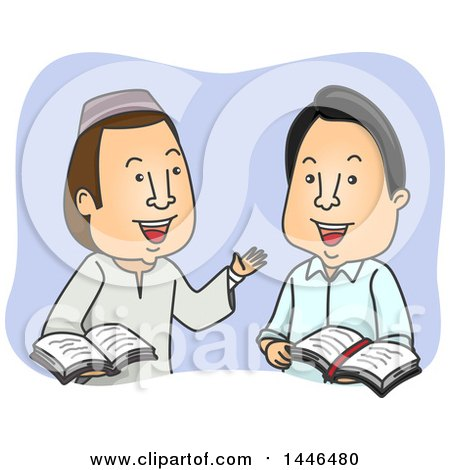 Clipart of a Male Muslim and a Christian Discussing the Bible and Quran - Royalty Free Vector Illustration by BNP Design Studio
